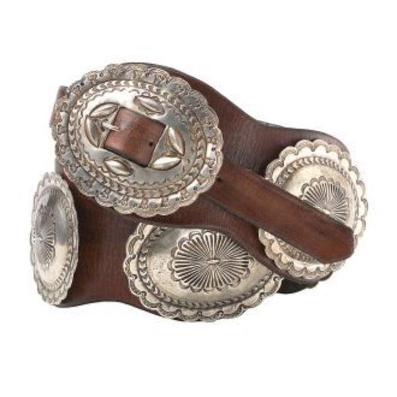 Ralph Lauren Brown Leather Concha Belt